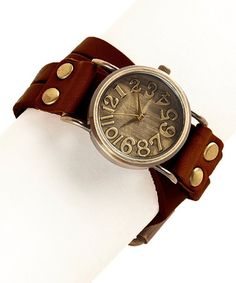 Love this Dark Brown Wrapped in Time Leather-Strap Watch on #zulily! #zulilyfinds