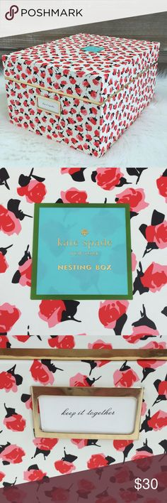 """🆕♠️Kate Spade New York Nesting Box ♠️Kate Spade New York nesting box is perfect for organizing and storing your beauty items or even for your office and closet // Beautiful Florals with Black Polka Dot  interior trimmed in gold foil accents, labeled """"keep it together"""" // Size - 11.5""""x 9.25"""" x 6.25""""/ Brand New 🚭SMOKE FREE🚭BUNDLE & SAVE 🛍🛍 kate spade Other"""