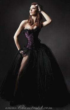 Plum and Black Burlesque Tulle Corset Dress. WANT SO BAD