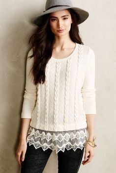 Sunday in Brooklyn Lace-Dipped Pullover #anthropologie #anthrofave