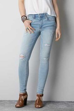 6cd32d0b2a1 Hi-Rise Jegging - Light Destroy - AEO Mens Outfitters, Distressed Jeans,  Jeggings