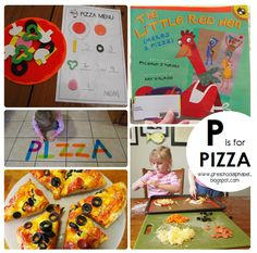 P is for PIZZA!  Free pizza menu printable, book and activity ideas.