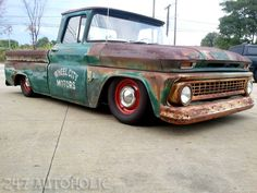 """1963 Chevy C10 short bed pick up. 247 Autoholic Motto: """"In this town body work doesn't mean plastic surgery."""" This lowrider is a work of art to be appreciated by connosieurs!"""