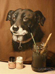 Painted bag for Agatha's order, portrait of her beloved dog