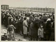 """Pictured here are Jews who just arrived at the camp, but have not yet undergone the selection process. On the left side, towards the bottom, it is possible to see some of the belongings that the Jews brought with them. The belongings remained on the platform until after the Jews had undergone selection and were sent either to be gassed or to slave labor. The belongings were then transferred to warehouses in a section of the camp known as """"Canada."""""""