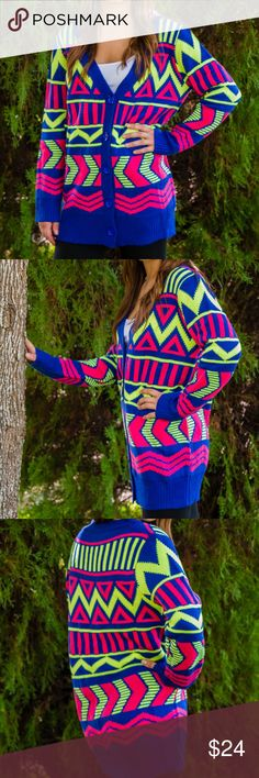 Neon Tribal Printer Cardigan You will feel incandescently happy on a cold gray day in this warm and cozy brightly colored tribal print cardigan! Long sleeve cardigan features button down front and multi-colored neon tribal print. 100% Acrylic, Available in sizes S/M and M/L (Model is wearing size S/M) Sweaters Cardigans