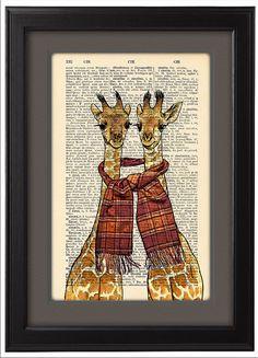 Giraffen afdrukken, twee gelukkige giraffen afdrukken, grappige woordenboek afdrukken poster, Happy giraffen gave poster,…