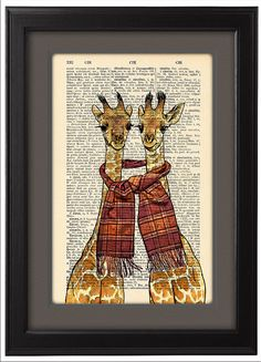 Giraffes print, Two Happy Giraffes print, Funny Dictionary Print  poster, Happy Giraffes Gift poster, Dorm College Home Wall decor, CODE/145