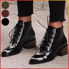 Buy New Ladys Stylish Lacquered Leather Lace-up Ankle Boots Chunky Heels Boots Luxury Short Booties for Women Party Shoes Bottes Femmes Damen Stiefel at Wish - Shopping Made Fun Cheap Fashion, Latest Fashion For Women, Lace Up Ankle Boots, Heeled Boots, Chunky Heel Pumps, Martin Boots, Boots Online, Spring Shoes, Women's Pumps