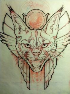 Egyptian Caracal cat sketch with red pencil and Pitt pen