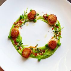 💥💥💥Join our new video channel Foodstar Oli Harding ( shared a new image via Foodstarz PLUS /// Scallops,… Food Design, Gourmet Recipes, Cooking Recipes, Gourmet Foods, Food Plating Techniques, Food Porn, Food Decoration, Culinary Arts, Food Presentation
