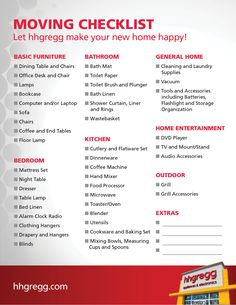 Moving into a new apartment? Download this checklist of things to ...