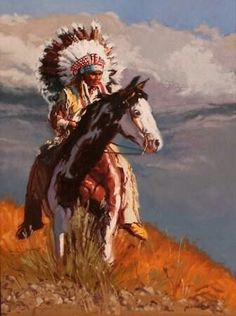 Indian Chief Sitting on His Fabulous Looking Sorrel Paint Mount. Native American Horses, Native American Paintings, Native American Pictures, Native American Beauty, Native American Artists, American Indian Art, Native American History, Indian Paintings, American Indians