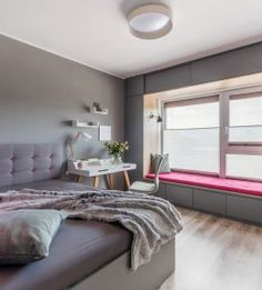 Grey and magenta for simple and elegant look. Find built in wardrobe. Student Room, Window Benches, Built In Wardrobe, Prague, Magenta, Windows, Urban, Elegant, Grey