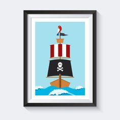 Simple A Piraten Bilder Kinderzimmer Poster maritim