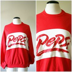 vintage 80s PEPSI sweatshirt size M by PasseNouveauVintage on Etsy, $26.25