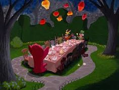 alice in wonderland tea party scene - Google Search..oblong table with light pink table cloth..random tea pots, tea cups and mixed chairs. This would look great set up at the bottom of the stage for the dance recital.