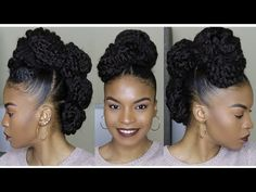 Natural Hair Faux Mohawk Updo using Marley Braiding Hair | HOW TO - YouTube
