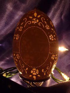 Carved Goose egg shell - Vintage. $20.00, via Etsy.