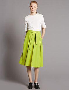 Cotton Blend Tie Front A-Line Midi Skirt