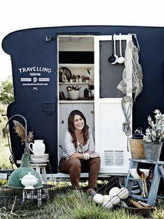 caravan Kara Rosenlund A vintage shop on wheels 10 // Camper Glamping, Vw Camping, Camping Shop, Caravan Shop, Retro Caravan, Caravan Ideas, Vintage Caravans, Vintage Travel Trailers, Vintage Campers