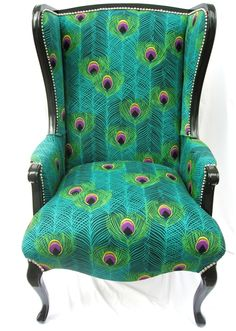 Peacock fabric wingback chair