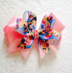 New Handmade Satin Ribbon Pink Disney Princesses Hair Bow Clips  Accessories