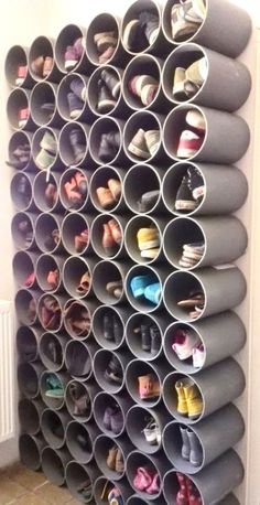 19 Fabulous DIY Ideas to Organize Shoes - Simple Life of a Lady : fun and creative shoes organization ideas! fun and creative shoes organization ideas! fun and creative shoes organization ideas! Diy Shoe Rack, Diy Shoe Organizer, Wall Shoe Rack, Pvc Shoe Racks, Hanging Shoe Rack, Shoe Rack For Boots, Shoe Rack Hacks, Diy Shoe Shelf, Homemade Shoe Rack