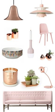 Trend Report: copper-blush..nice colour combo whether is a trend or not. Trend Report: Copper + Blush Justina Blakeney Above photos taken yesterday at the Hay shop. Copper vases Poul Henningsen lamp in blush Copper Planter and Copper vases (Hello Bling+Botanicals!) Verner Panton Copper Lamp Copper Ball lamp Tom Dixon Copper Candle Bowl and Candle Holder by Ferm living at Burke Decor Chair Sofa Copper Tray ...