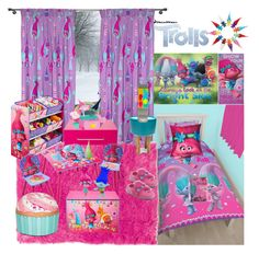 """""""Trolls inspired girls room"""" by hisprincess2017 on Polyvore featuring interior, interiors, interior design, home, home decor, interior decorating, DreamWorks Trolls, DreamWorks, Cappellini and George"""