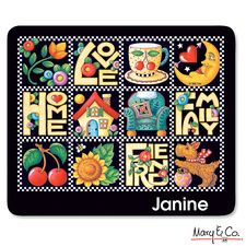 """Love, Home…""  Each time you use this handy personalized mousepad, remember these four simple ingredients that shape a happy life: Love, Home, Family, Friends. Cozy images in Mary Engelbreit's inimitable style make this a great friendship gift, too. From Colorful  Images"