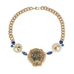 Gold Rhinestone Lion Head Rivet Necklace