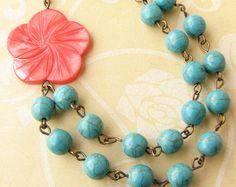 Turquoise and Coral Necklace Coral and by GlassPalaceArts on Etsy