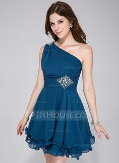 Homecoming Dresses - $112.99 - A-Line/Princess One-Shoulder Short/Mini Chiffon Homecoming Dress With Ruffle Beading (022027053) http://jjshouse.com/A-Line-Princess-One-Shoulder-Short-Mini-Chiffon-Homecoming-Dress-With-Ruffle-Beading-022027053-g27053