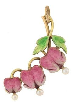Art Nouveau 14kt Bleeding Hearts Enamel & Pearl Pendant. Circa 1900. A wonderful enamel flower pendant from the Art Nouveau (ca1900) era! This beautiful and feminine piece is made of 14kt yellow gold and portrays a lovely trio of bleeding heart flowers hanging from a gold wire stem.