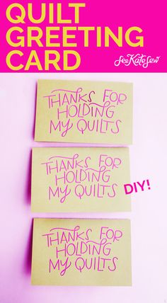 """This quilt greeting card says """"Thanks for holding my quilts"""" and is the perfect Valentine for that supportive person in your life who helps with crafts! Diy Beauty, Beauty Hacks, Hold Me, Stick It Out, Funny Valentine, Blank Cards, Card Templates, Card Stock, Greeting Cards"""