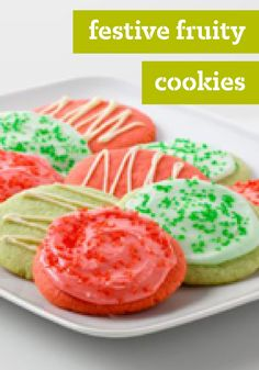 Festive Fruity Cookies – Sprinkles and a sweet glazed icing make these cookies festive—but the fruity appeal comes from flavored gelatin in any flavor you like.