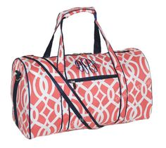 "Duffle Bag Personalized  Overnight Cheer Bridesmaid Vine Design Coral  Monogram Duffel Bag by LD Bags 17.5"" on Etsy, $21.99"
