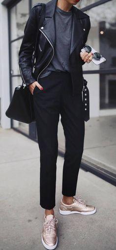 fall street style addiction / moto jacket + bag + pants + top + sneakers