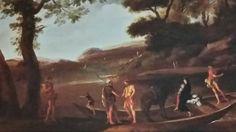AGOSTINO TASSI ( Ponzano Romano 1580 c.-  Roma 1644 ). PAESAGGIO FLUVIALE CON LA FUGA IN EGITTO. olio su tela. 50 × 67 cm.