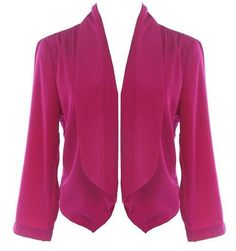Berry Splendor Blazer: Features a relaxed shawl-style lapel framed by well-tailored 3/4-length sleeves, brilliant berry-hued fabric throughout, and a trend-right cropped cut to finish.