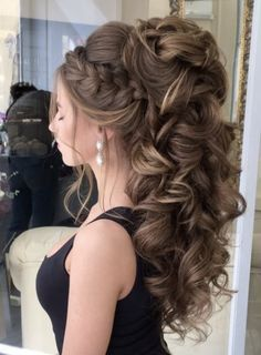 50 Attractive Wedding Hairstyles for Long Hair – Hair Styles Bride Hairstyles For Long Hair, Quince Hairstyles, Easy Updos For Medium Hair, Wedding Hairstyles For Long Hair, Wedding Hair And Makeup, Medium Hair Styles, Braided Hairstyles, Hair Updo, Hairstyle Wedding