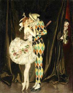 Harlequin and Columbine, Pierrot (1914) by F.X. Leyendecker for Vanity Fair