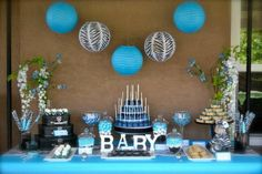 zebra baby shower decorations | Blue & zebra baby shower | Party Ideas
