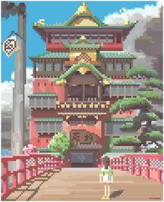 chihiro Spirited away pixel art -