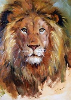 "Daily Paintworks - ""Lion"" - Original Fine Art for Sale - © Teresa Yoo - Kunst: Tiere - Animals in Art - Katzen / Cat Animal Paintings, Animal Drawings, Art Drawings, Watercolor Animals, Watercolor Art, Art Prophétique, Lion Painting, Family Painting, Oil Painting Flowers"