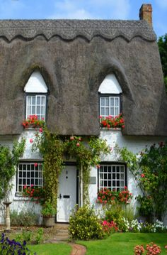 Love the window boxes in this charming cottage garden!