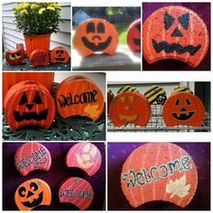 projects with cement blocks Fall/Thanksgiving dec Herbst / Erntedankfest Dezember Herbst / Erntedankfest Dezember Crafts To Do, Fall Crafts, Halloween Crafts, Holiday Crafts, Halloween Decorations, Fall Decorations, Fall Projects, Projects For Kids, Diy Projects