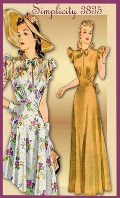 Vintage Pattern Simplicity 3835  1940s Day Dress Pattern and Floor Length Evening Gown.