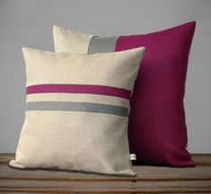 Items similar to Colorblock Stripe Pillow Set - Sangria and Navy Striped Pillow - Sangria and Navy Colorblock Pillow by JillianReneDecor on Etsy Sewing Pillows, Diy Pillows, Linen Pillows, Cushions, Throw Pillows, Funny Pillows, Bed Linen, Cushion Cover Designs, Cushion Covers